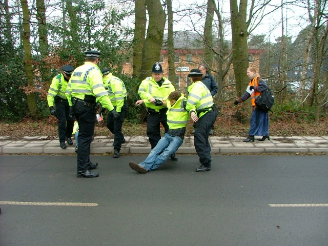 Activists removed from road by Police
